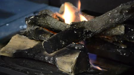heat resistant : Biofireplace and heat-resistant fireproof ceramic firewood close-up. Modern bio fireplot fireplace on ethanol gas. Smart ecological alternative technologies. Contemporary biofuel on ethanol close-up. Stock Footage