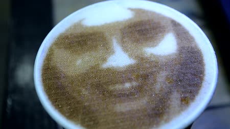 modern additive : Drawing of womans face on foam coffee latte created by 3D coffe-print. 3D coffee printer created portrait of girl on foam of brewed coffee. Food ink on surface. Picture from Coffee Inkjet printer Stock Footage