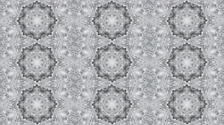 dinamic background : Abstract kaleidoscope motion background. Sequence graphics ornaments patterns. Gray white lace motifs sequins. Seamless loop. Looping structure backdrop Stock Footage