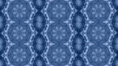 surrealismo : Abstract animated kaleidoscope motion background. Sequence graphics ornaments patterns. White blue structure motifs sequins. Bright impulsively luminous light backdrop. Seamless loop background Stock Footage