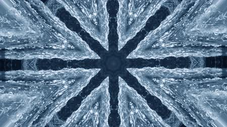 surrealizm : Abstract animated kaleidoscope motion background. Sequence graphics ornaments patterns. White blue black structure motifs sequins. Bright impulsively luminous light backdrop. Seamless loop background