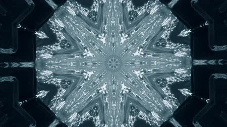 dizi : Abstract animated kaleidoscope motion background. Sequence graphics ornaments patterns. White blue black structure motifs sequins. Bright impulsively luminous light backdrop. Seamless loop background