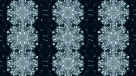 surrealismo : Abstract animated kaleidoscope motion background. Sequence graphics ornaments patterns. White blue black structure motifs sequins. Bright impulsively luminous light backdrop. Seamless loop background