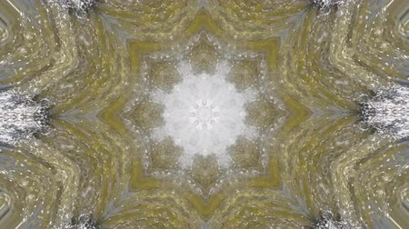 surrealismo : Abstract animated kaleidoscope motion background. Sequence graphics ornaments patterns. White brown beige structure motifs sequins. Bright impulsively luminous light backdrop. Seamless loop background