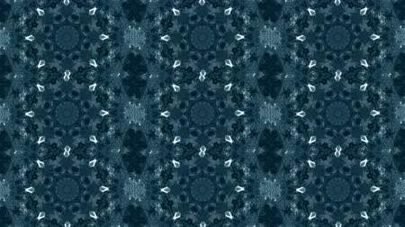 koronka : Abstract kaleidoscope motion background. Sequence graphics ornaments patterns. Blue white black sequins motifs. Seamless loop. Looping structure backdrop, Nice seamless loop background.