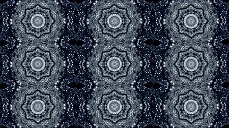 nativo : Abstract kaleidoscope motion background. Sequence graphics ornaments patterns. Blue white black sequins dark motifs. Seamless loop. Looping structure backdrop, Nice seamless loop background.