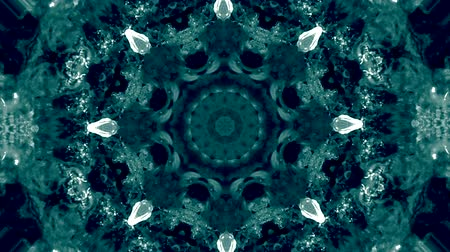 koronka : Abstract kaleidoscope motion background. Sequence graphics ornaments patterns. Blue white black sequins dark motifs. Seamless loop. Looping structure backdrop, Nice seamless loop background.