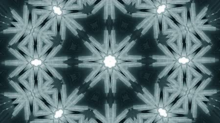 surrealismo : Abstract animated kaleidoscope motion background. Sequence multicolored graphics ornaments patterns. Bright luminous light backdrop. Soft blue and white seamless loop background. Looping backdrop Stock Footage