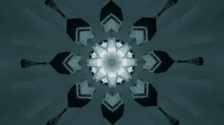 surrealizm : Abstract animated kaleidoscope motion background. Sequence multicolored graphics ornaments patterns. Bright luminous light backdrop. Soft blue and white seamless loop background. Looping backdrop Wideo