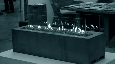 oxidation : Modern bio fireplot fireplace on ethanol gas. Smart ecological alternative technologies. Contemporary biofuel on ethanol close-up. Energy saving innovation Stock Footage
