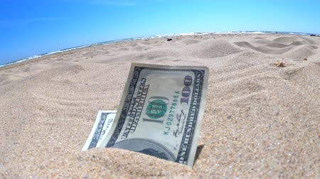 buried : Money dolars half covered with sand lie on beach close-up. Three hundred dollars buried in sand on sea or ocean beach Concept finance money holiday relax vacation. Sunny summer warm wind day.