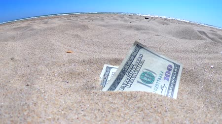 sand paper : Money dolars half covered with sand lie on beach close-up. Dollar bills partially buried in sand. Three hundred dollars buried in sand on sea ocean beach Concept finance money holiday relax vacation Stock Footage