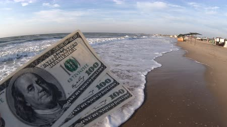 buried : Girl holding a money bill of 300 dollars on background of sea waves and sky on sunny day. Hand waves sea ocean money dollars bills relax vacation relax sun summer. Money down drain concept. Windy wind Stock Footage