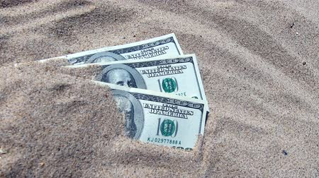 貴重な : Money dolars half covered with sand lie on beach close-up. Dollar bills partially buried in sand. Three hundred dollars buried in sand on sea ocean beach Concept finance money holiday relax vacation 動画素材