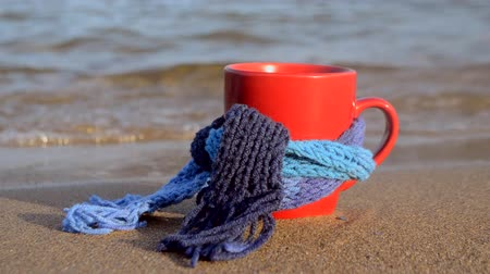 Red mug with coffee tied with blue knitted scarf stands on sandy beach of ocean sea waves. Concept warm mood travels relax ocean sea vacation holiday rest Vídeos