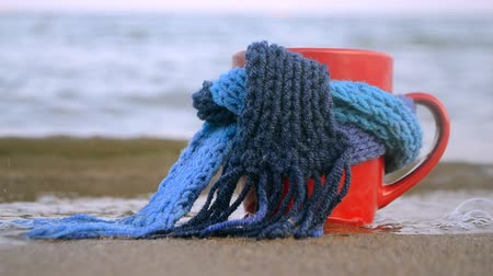 縛ら : Red mug with coffee tied with blue knitted scarf stands on sandy beach of ocean sea waves. Concept warm mood travels relax ocean sea vacation holiday rest 動画素材