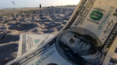 one hundred : Girl holding money bill of 300 dollars on background of sandy beach close-up. Concept finance money holiday traveling dollars vacation summer Stock Footage