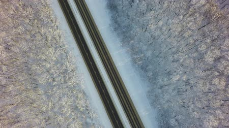 rota : Cars on two roads in snowy forest, aerial top down view from drone in 4k