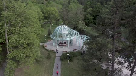 pavilion : BORJOMI, GEORGIA, JULY 08, 2017: Aerial drone view of Borjomi resort town in central Georgia. Known for its mineral waters, with springs in Park.