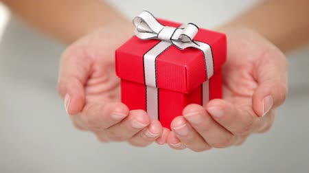 С Рождеством : Gift. Woman holding showing gift or christmas gift in her hands. Female hands giving red present. Стоковые видеозаписи