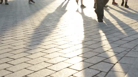 unrecognizable people : Pedestrian commuters - shadows of people walking in city. Business people feet walking home from work. Berlin, Germany. Stock Footage
