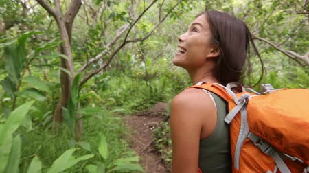kaland : Hiking woman trekking in rainforest jungle. Rear back view of young female hiker walking on trek with backpack through dense rain forest nature on Maui, Hawaii, USA. Asian girl living active lifestyle Stock mozgókép