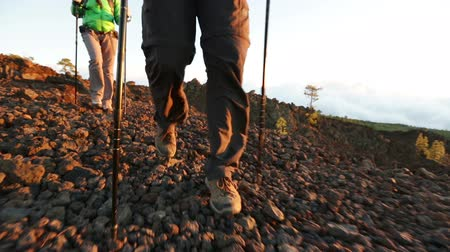 bota : Hiking shoes on hikers walking. Man and woman hiker hike boots in closeup while trekking with hiking poles. Male feet in foreground. Stock Footage