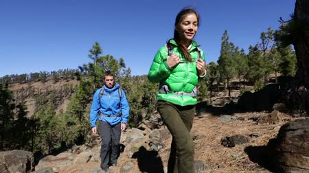 направлять : Hiking. Hikers walking on adventure in forest. Couple living healthy active lifestyle walking and trekking wearing backpacks in woods. Asian woman and Caucasian man. Стоковые видеозаписи