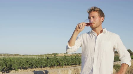 íz : Winemaker or sommelier drinking red rose wine from wine glass standing by vineyard. Handsome young man enjoying wine in countryside in summer.