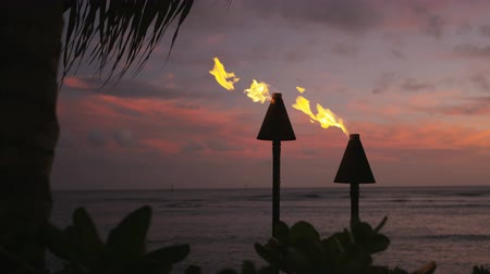 lanai : Torches with fire and flames burning in Hawaii sunset sky by palm trees. Beautiful slow motion torches on Hawaiian Waikiki beach, Oahu. RED EPIC SLOW MOTION