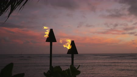 meşale : Burning Tiki torches at beach. Torches are illuminated at seaside against sky. Beautiful view of sea at dusk.