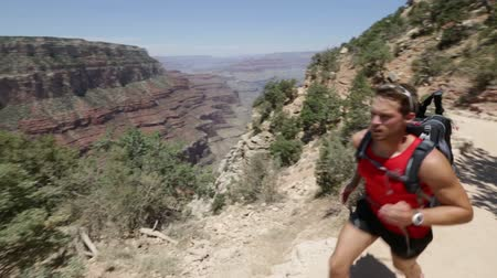 ультра : Running cross-country runner man in race on path in Grand Canyon, USA. Fit sports athlete jogging and training in beautiful nature landscape. Fit Caucasian fitness model in his 20s. Стоковые видеозаписи
