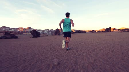 rotaları : Fitness sporty young man running in nature landscape. Male runner is in sportswear trail running outside living healthy lifestyle. Stok Video