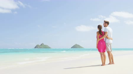 стоять : Beach couple looking at ocean view on Hawaii. Happy couple standing on white sand in pink dress and beachwear on vacations on Lanikai beach, Oahu, Hawaii, USA with Na Mokulua Islands