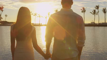 медовый месяц : Honeymoon couple romantic at sunset holding hands in love enjoying vacation at beach embracing looking at water view holding around each other in embrace on honeymoon travel holidays getaway Стоковые видеозаписи