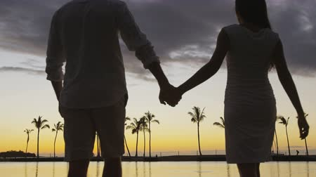 person's hand : Romantic couple at sunset holding hands at beach walking hand in hand at honeymoon vacation travel holidays. Woman and man going for stroll in evening. Big Island, Hawaii, USA