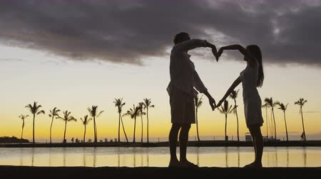 медовый месяц : Romantic couple at sunset forming heart shape with arms as love symbol as the sun set over ocean. Woman and man in love celebrating honeymoon together Стоковые видеозаписи