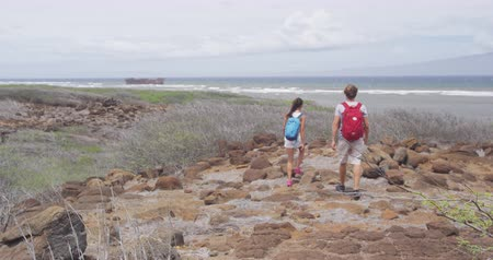 lanai : Hiking couple hiking walking on rocks at Shipwreck beach. Hikers are carrying backpacks. Young man and woman are on summer vacation on Lanai, Hawaii, USA. Stock Footage