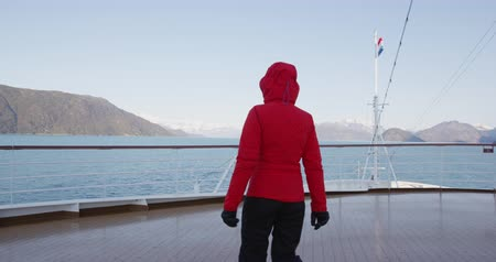 glacier national park : Alaska Glacier Bay cruise ship passenger looking at Alaskan mountains exploring Glacier Bay National Park, USA. Woman on travel sailing Inside Passage enjoying view Stock Footage