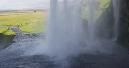 skogafoss : Iceland Waterfall Seljalandsfoss in Beautiful Icelandic Landscape. Famous tourist attraction and natural landmark destination on the ring road. RED EPIC SLOW MOTION.