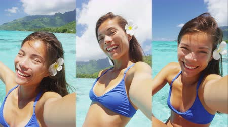 french media : Selfie fun vacation woman smiling at camera on summer travel holiday in exotic tropical location, Tahiti vacations luxury resort holidays. Vertical video montage.