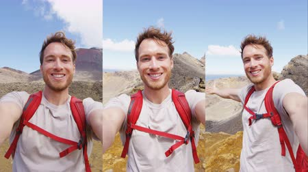 facetime : Happy Backpacking Man Taking Selfie Video on Travel - vertical video selfie from in Slow motion