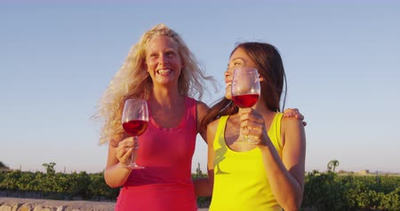 részeg : Friends drinking red rose wine at vineyard wine tasting - women having fun. Happy women holding glasses of red wine or rose enjoying a glass outside at sunset.