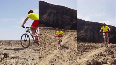 mtb : Vertical Video of Mountain bike - man biking on MTB cycling trail. Man cycling enjoying healthy lifestyle and outdoor sports activity.