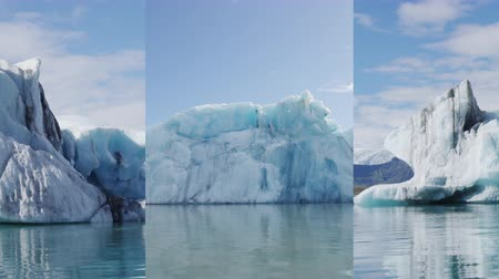 jokulsarlon : Vertical video for social media on mobile phone of Iceberg in Iceland glacier lake Jokulsarlon glacial lagoon, Vatna glacier, Vatnajokull National Park, Iceland. Iceland nature landscape with icebergs Stock Footage