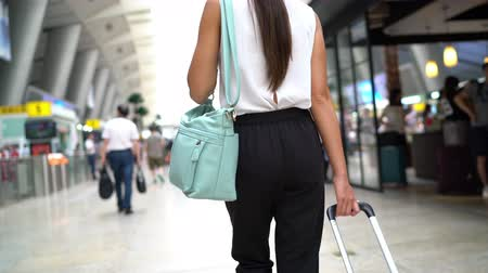 bagagem : Traveler woman going on train travel in business class on modern train station. Beautiful woman with hand luggage leaving on luxury transport. Businesswoman commuting to work in the morning. Vídeos