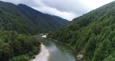 Új zéland : New Zealand aerial drone footage of nature landscape on West Coast Region of South Island, New Zealand. River Landscape
