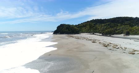 güneybatı : Ship Creek beach and Kahikatea swamp forest walk, Haast Highway, West Coast Region of South Island, New Zealand. Aerial drone video nature landscape.