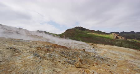 fumarole : Iceland landscape nature video of volcano geothermal volcanic activity fields showing volcanic active fumaroles. Seltun geothermal field in Krysuvik on Reykjanes peninsula, South West Iceland.