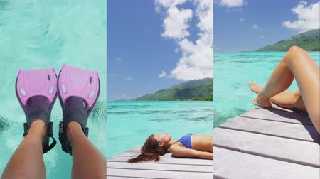 french media : Vertical Video of Tropical paradise travel holidays woman enjoying sun lying down sunbathing after snorkel swim from luxury overwater bungalow villa private terrace in idyllic getaway.